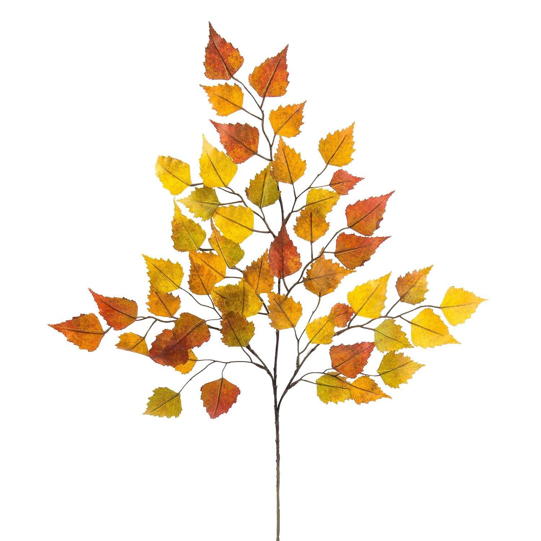 artplants Ramo di betulla artificiale, 3 rametti, 50 foglie giallo-marrone, 65 cm - Ramo di autunno/Betulla decorativa
