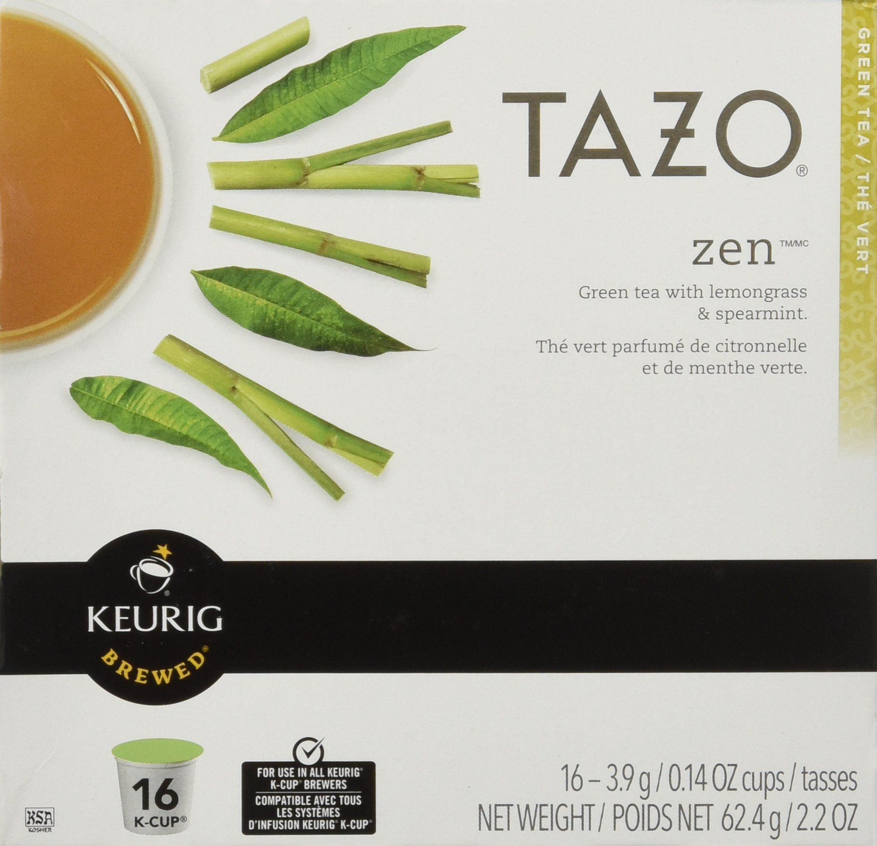 Keurig Tazo Zen Tea 16-Count K-Cups for Keurig Brewers (2 Pack, 32 cups) by TAZO