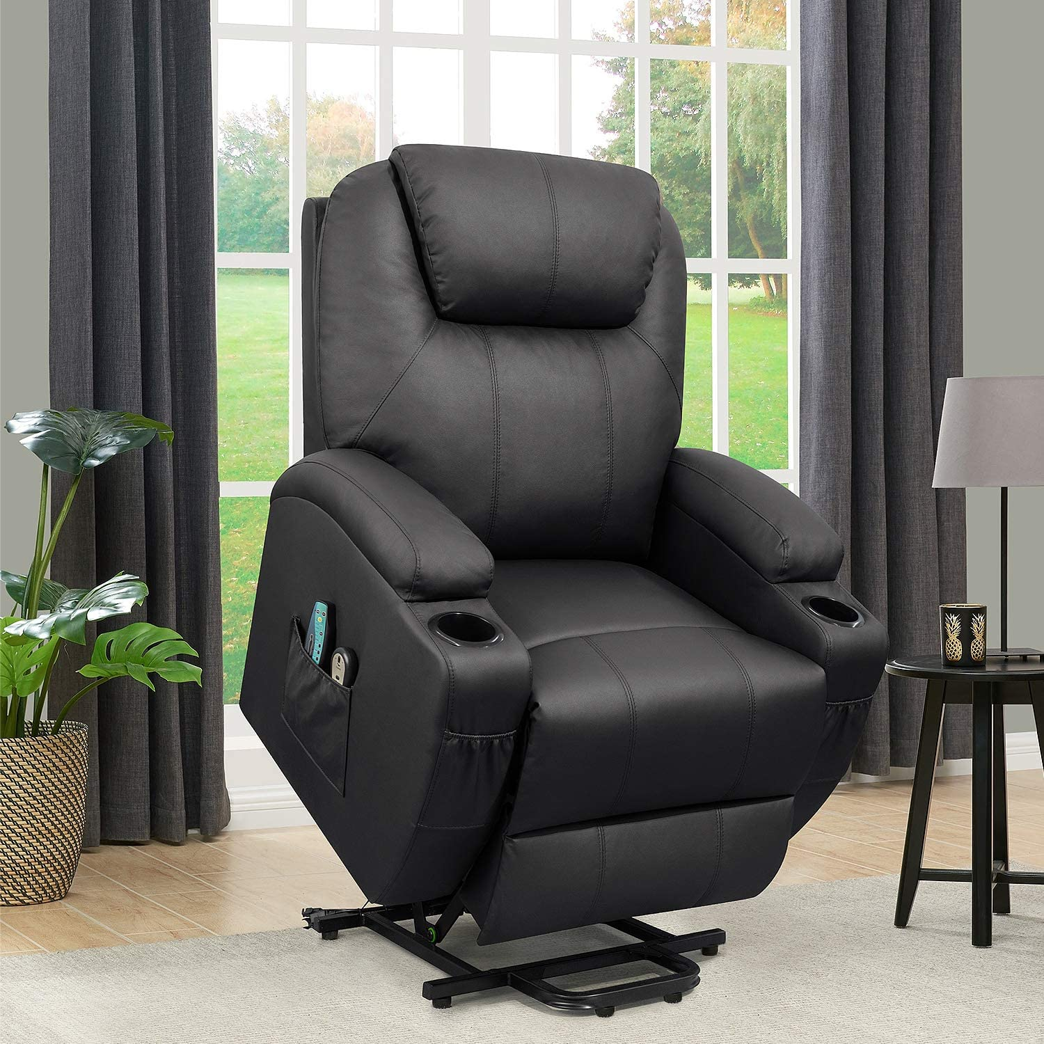 Flamaker Power Lift Recliner Chair Pu Leather For Elderly With Massage And Heating Ergonomic Lounge Chair For Living Room Classic Single Sofa With 2 Cup Holders Side Pockets Home Theater Seat