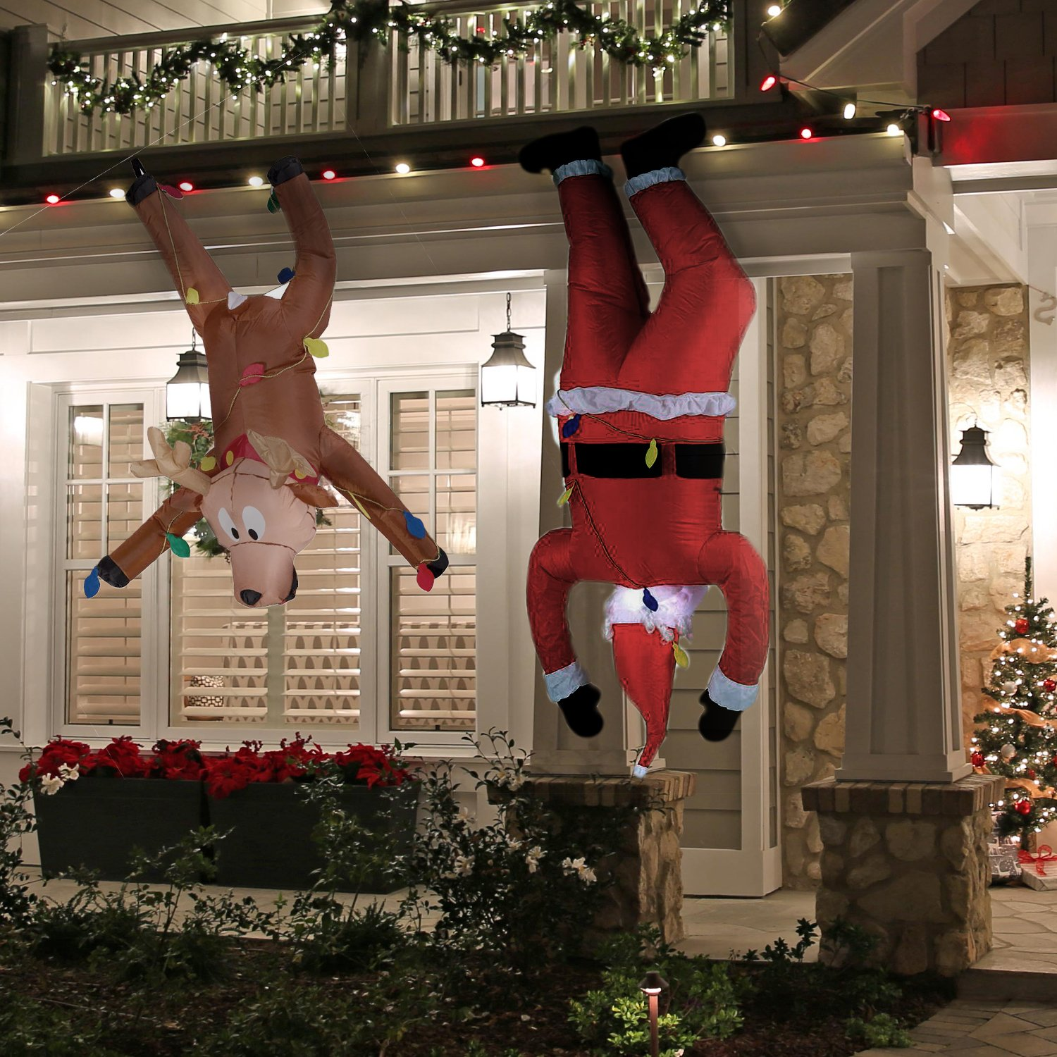 Inflatable Hanging Santa 6.5ft and Reindeer 4ft - Set of 2 - Fun Airblown for Christmas by Home Accents Holiday