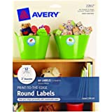 "Avery Print-to-the-Edge Round Labels, Glossy White, 2"" Diameter, Pack of 60 (22817)"