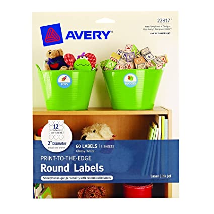 avery print to the edge round labels glossy white 2