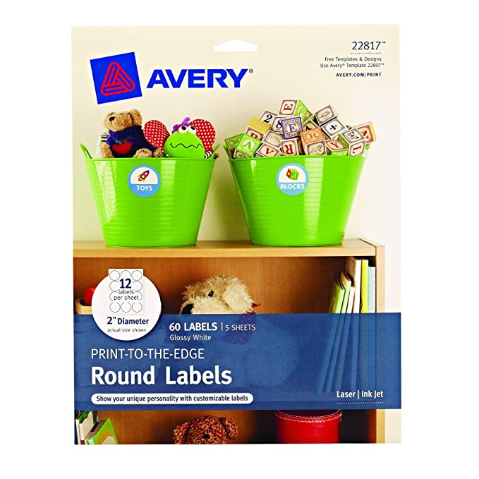 Amazon Avery Print To The Edge Round Labels Glossy White 2