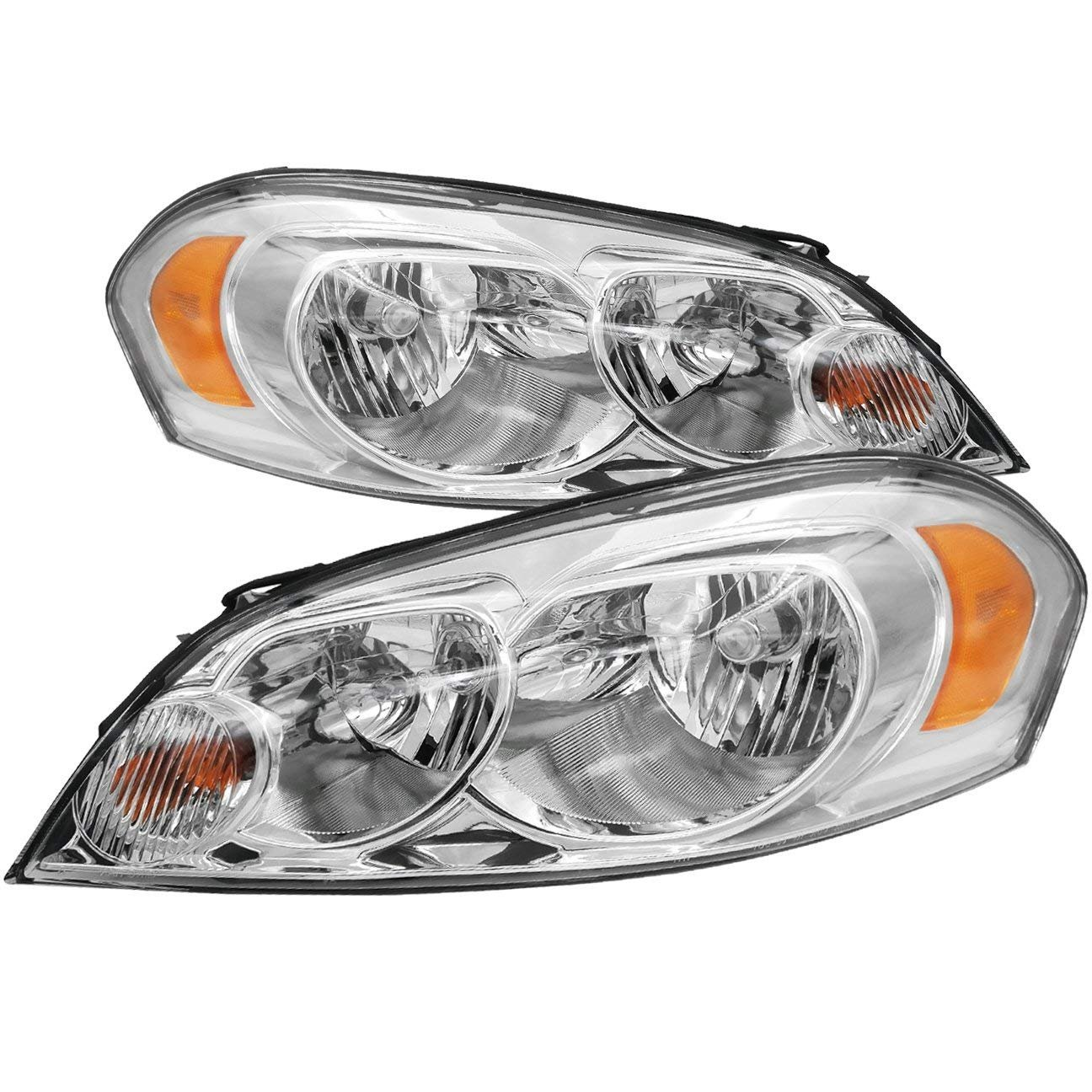 Chevy Impala/Monte Carlo OE Replacement Chrome Bezel Headlights Driver/Passenger Head Lamps Pair New .