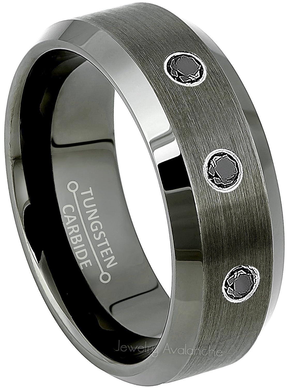 fadaf2b747bea Jewelry Avalanche 0.21ctw Black Diamond 3-Stone Mens Tungsten Ring - April  Birthstone Ring - 8MM Beveled Edge Gunmetal (Dark Gray) Mens Tungsten ...