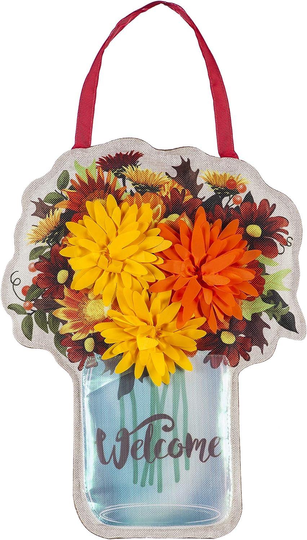 Evergreen Flag Fall Mums Floral Mason Jar Door Décor