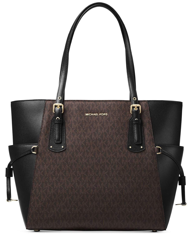 c21a64b5f0e1 Amazon.com  Michael Kors Women s Jet Set Travel Small Logo Tote Bag ( Brown Black)  Cell Phones   Accessories