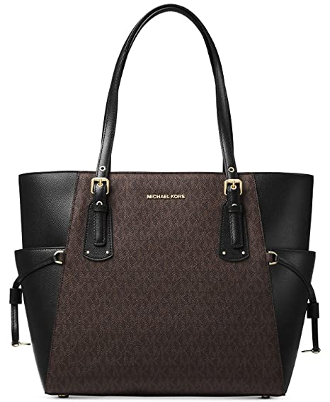 bf89f44a52f3 Image Unavailable. Image not available for. Color  Michael Kors Women s Jet  Set Travel Small Logo Tote Bag (Brown Black)