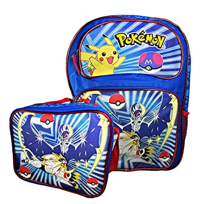 Blue Pokemon Backpack, Lunch Box Travel Bag Printed Pokemon Pikachu Bag (Backpack & Lunch Box) | Kids' Backpacks