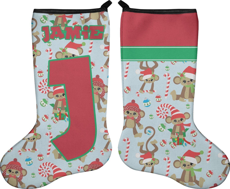 RNK Shops Christmas Monkeys Christmas Stocking - Double-Sided - Neoprene (Personalized)