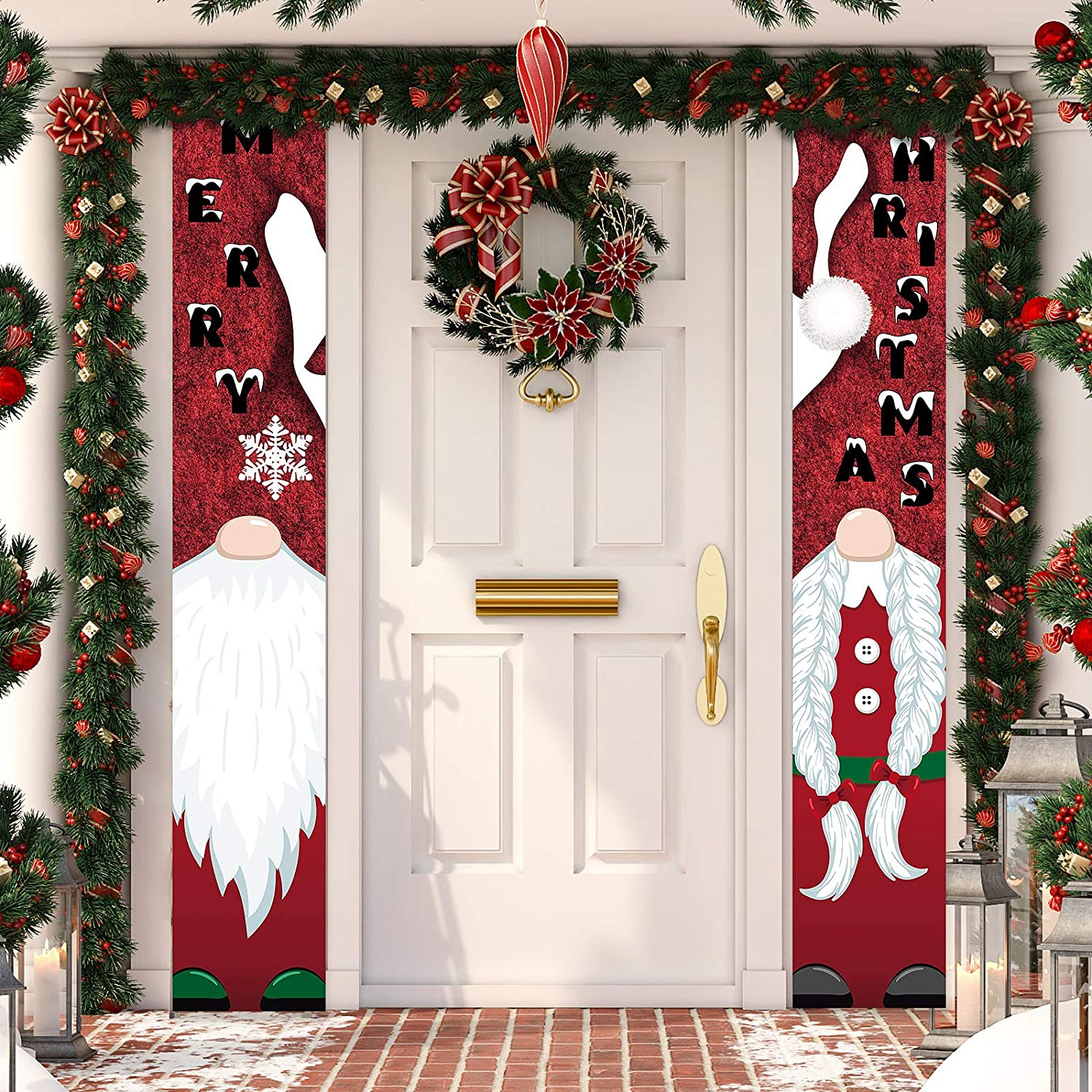 Tatuo Christmas Banner Porch Sign Santa Clause Gnomes 71 x 12 inches Porch Welcome Merry Christmas Door Banner for Christmas Home Indoor Outdoor Porch Wall Holiday Decor
