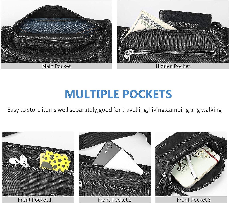 ProCase Fanny Pack Waist Packs for Men Women Waist Bag Hip Pack for Travel Hiking Running Outdoor Sports