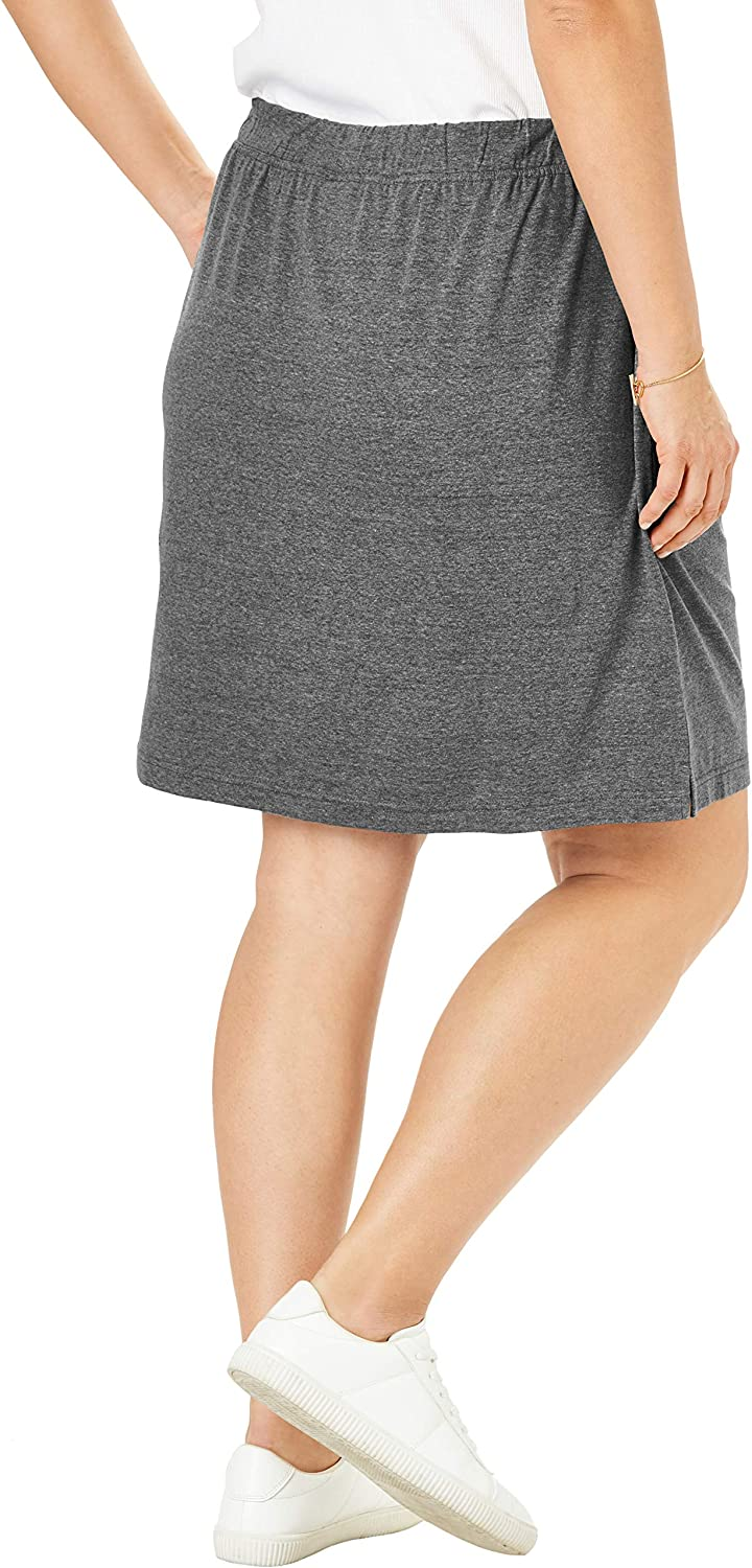 Woman Within Womens Plus Size Stretch Cotton Skort