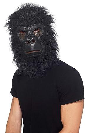 SmiffyS 24238 Máscara De Gorila Con Pelo, Negro