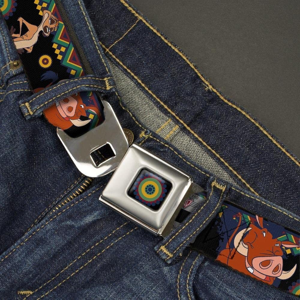 1.0 Wide Timon /& Pumba Poses//Aboriginal Black//Multi Color 20-36 Inches in Length Buckle-Down Seatbelt Belt