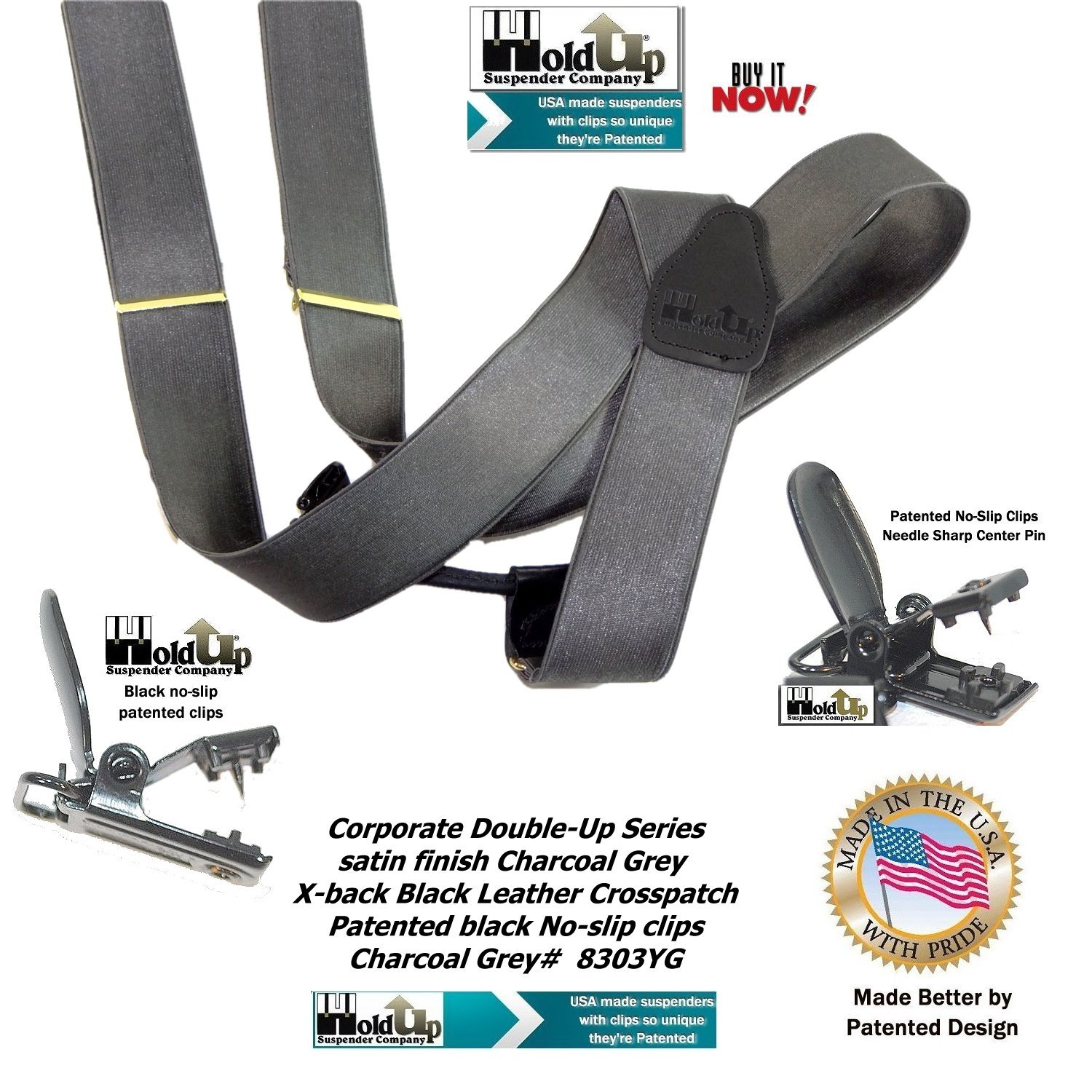 HoldUp Brand Corporate Series Dual Clip Double-up Suspenders in Satin Finish Charcoal Gray with black No-slip Clips