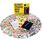 40 No Repeat Sheets Puffy Childrens Stickers Mega Variety Pack by Purple Ladybug Novelty, 950+ 3D Puffy Stickers For Kids, Toddlers, & Children, Including Animals, Smiley Faces, Cars & More!.
