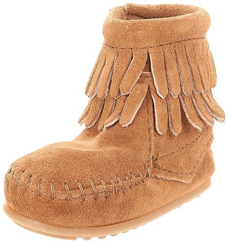 Minnetonka Double Fringe Side Zip Bootie, Mocasines para Bebés: Amazon.es: Zapatos y complementos