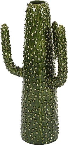 Deco 79 62171 Cactus Ceramic Vase, 20 x 8 , Green