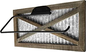 Autumn Alley Rustic Barn Door Paper Towel Holder - Country Home Decor Rustic Farmhouse for Kitchen - Wood and Galvanized Wall Mount Paper Towel Holder - Farmhouse Kitchen Wall Decor