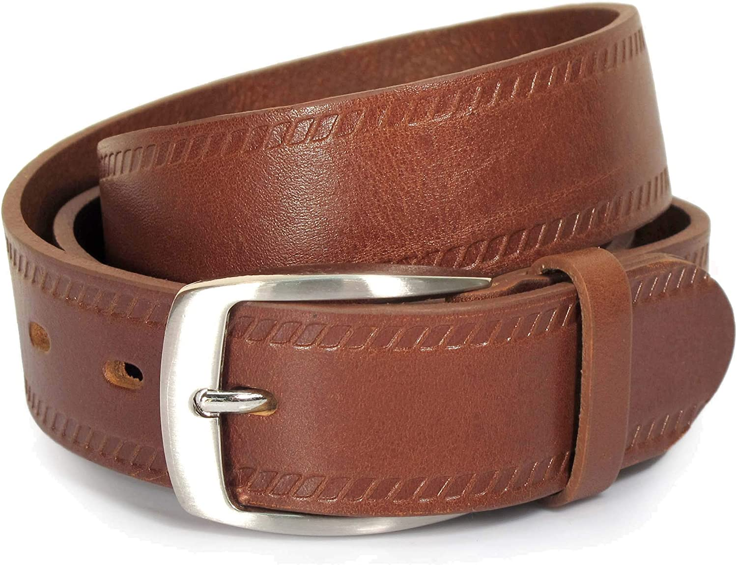 Mens Real Genuine Leather Belt Black Brown White 1.25 Wide S-XL Casual Jeans TM1