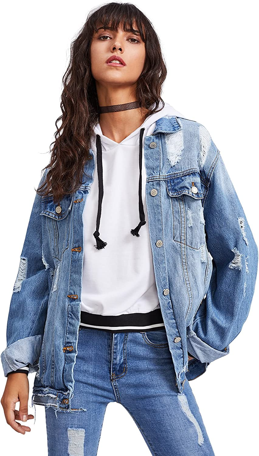 Classic Vintage Long Sleeve Stretch Button Down Cropped Coat Trucker Womens Casual Denim Jean Jackets