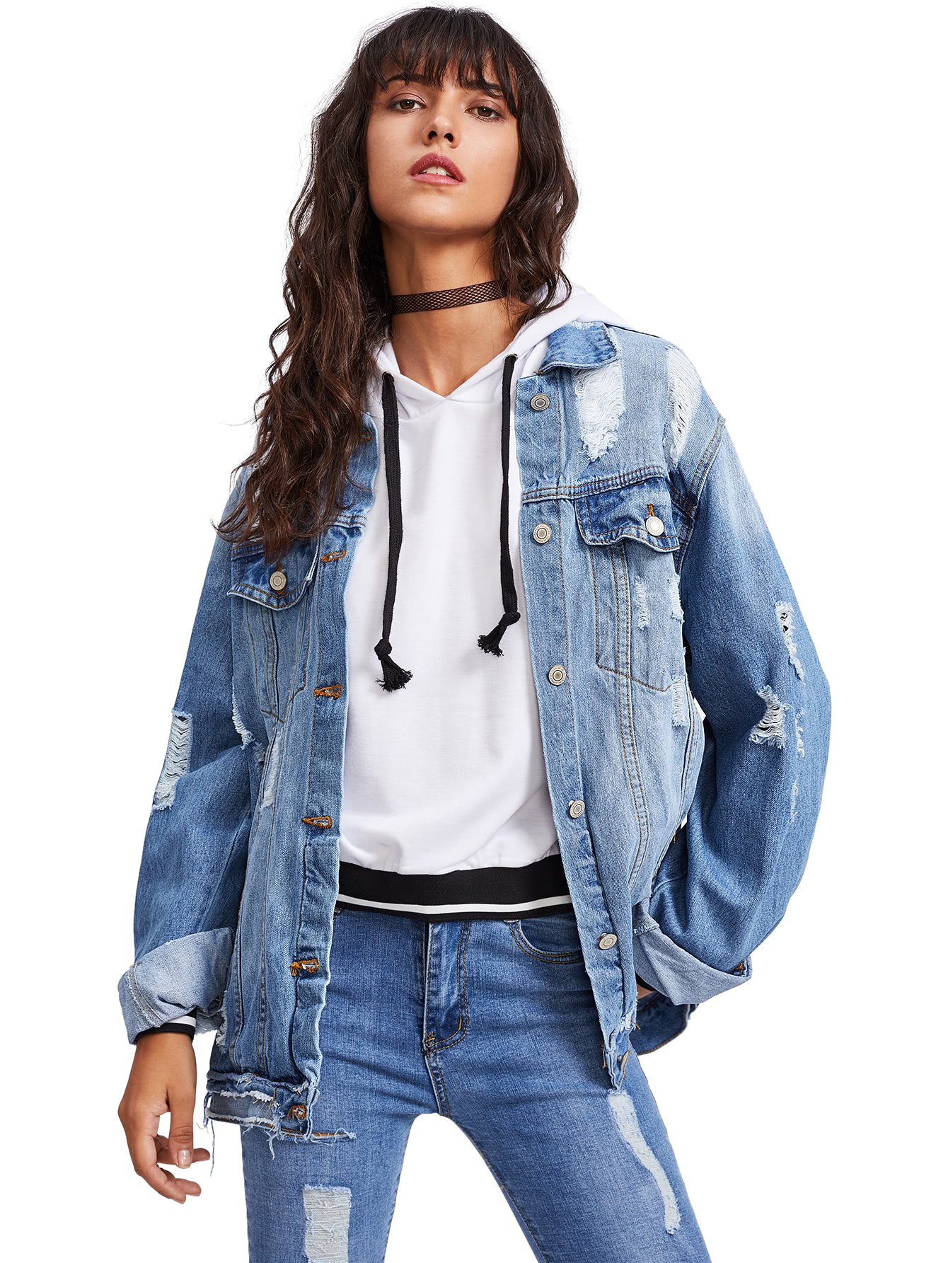 Floerns Women's Ripped Distressed Casual Long Sleeve Denim Jacket Blue L