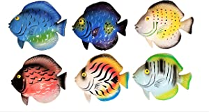 "All Seas Imports 5"" x 4.5"" Multi-Color Exotic Set of (6) Decorative Tropical Wall Decor Fish!"
