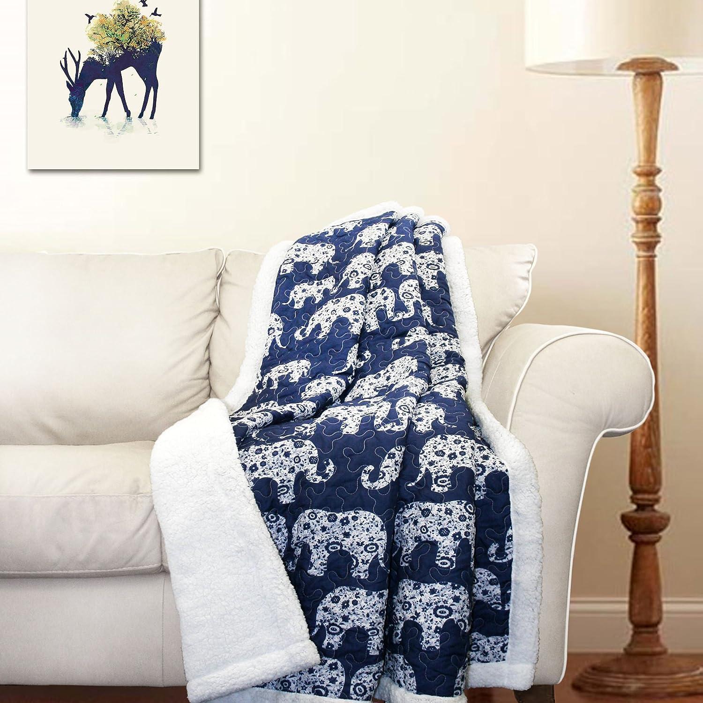 Amazon Com Lush Decor Elephant Parade Throw Soft Sherpa  Grey Blue Home Kitchen