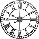 Wyegate Outdoor Garden Wall Clock Large Weatherproof with Roman Numerals Diameter 60.3cm x H4cm (Grey)