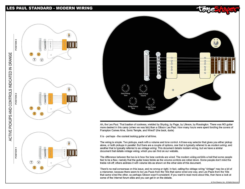 amazon com: toneshaper guitar wiring kit, for les paul standard (modern  wiring): musical instruments