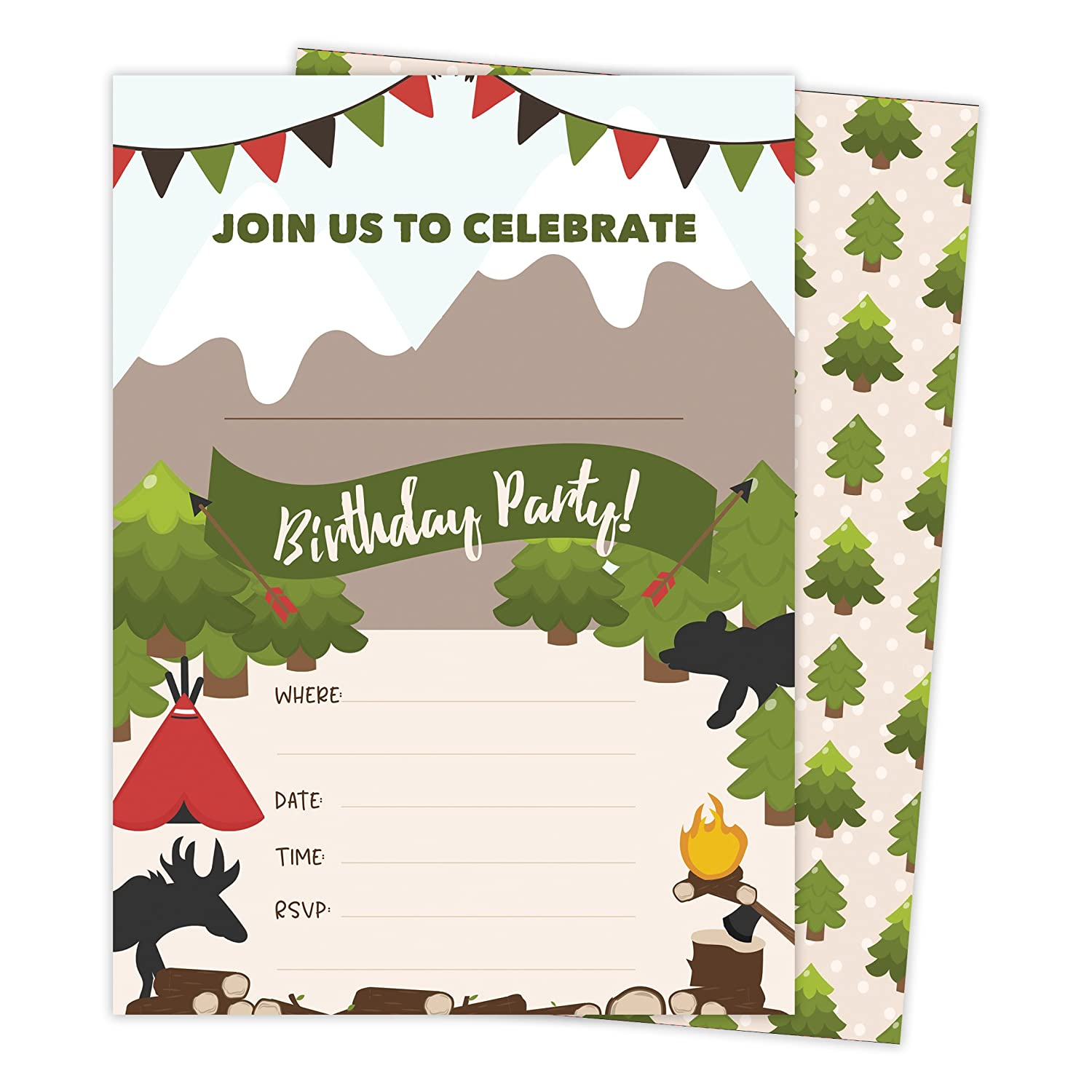 Lumberjack Style 2 Happy Birthday Invitations Invite Cards 25 Count With Envelopes Seal Stickers Vinyl Boys Girls Kids Party