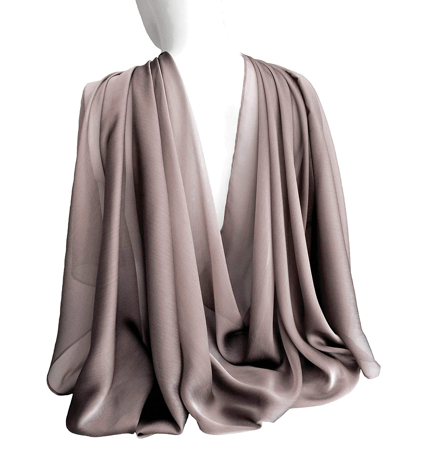 Light Silvery Brown Wide Long Shiny Scarf for Women Evening Wrap With Gift Box Formal Shawl Lightweight Cocktail Chiffon Stoles Christmas Mother's day 77