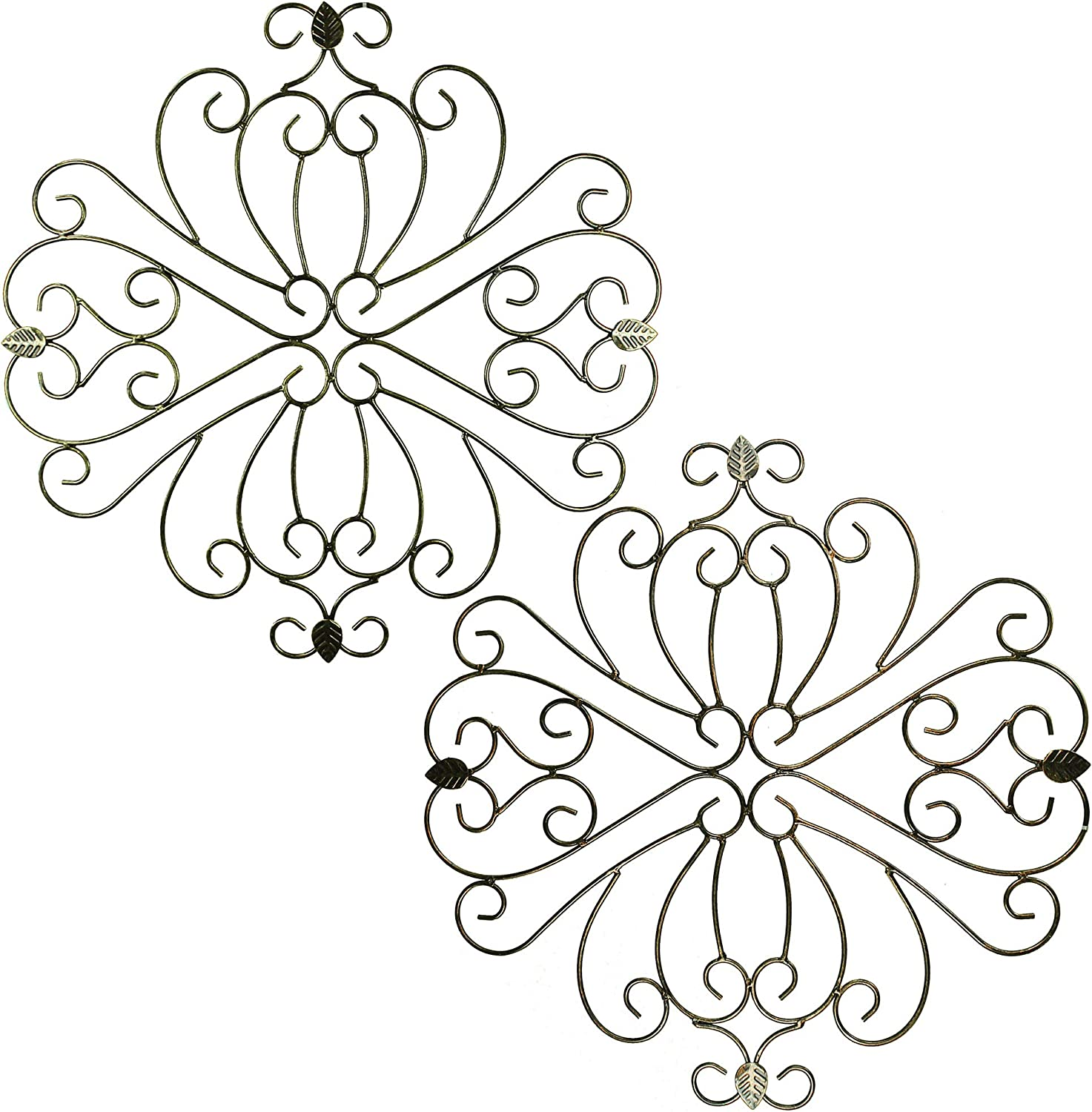 Benjara Metal Wall Decor with Intricate Design and Leaf Accents, Assortment of Two, Gray