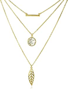 JOTW Goldtone with 3 Layered Bar, Crystal, Leaf Pendants with a 24 Inch Adjustable Link Necklace