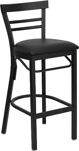 Flash Furniture HERCULES Series Black Two-Slat Ladder Back Metal Restaurant Barstool – Black Vinyl Seat