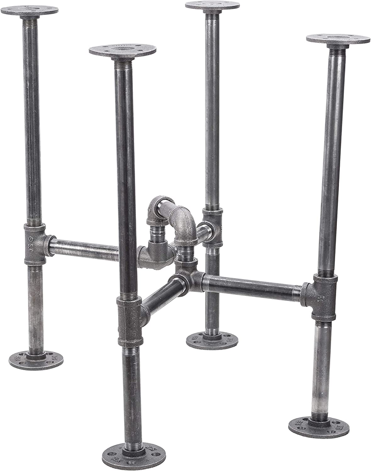 Industrial Pipe Decor Table Leg Set, Rustic End Table Side Table Base Kit, Dark Grey/Black Steel Metal Pipes Vintage Furniture Decorations DIY Coffee Table Legs Mid Century Modern, Underpass Style