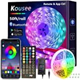 Bluetooth LED Strip Lights 50ft, 15m Kousee LED Light Strips Controlled by Smart Phone APP - Music Sync LED Lights Strip for