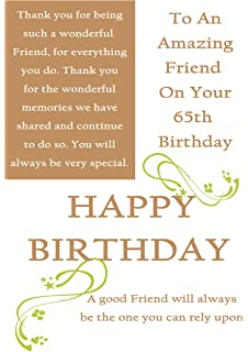 Friend 65th Birthday Card With Removable Laminate Female