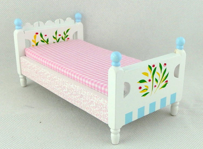 Maison de poupées ancienne en Métal Noir Lit simple Miniature Meubles de chambre