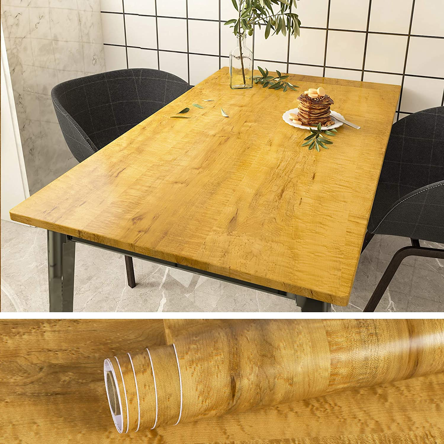 VEELIKE 15.7''x118'' Brown Wood Wallpaper Peel and Stick Waterproof Wood Grain Contact Paper Self Adhesive Removable Wood Look Wallpaper Vinyl Decorative Wall Covering for Cabinets Furniture Bedroom