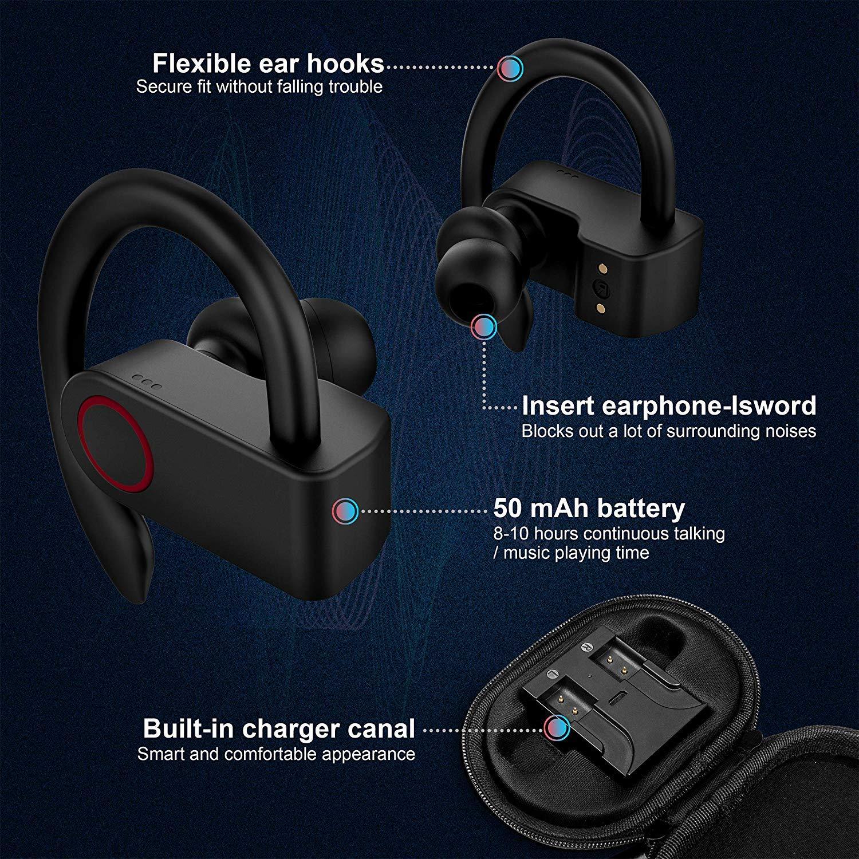 Actualizaci/ón del tap/ón Bluetooth 5,0 con kit de recarga ejercicios y gimnas auriculares CVC de baja de ruido con micr/ófonos internos para ejercicios tapones inal/ámbricos de 8 a 10 horas de duraci/ón impermeables ipx8
