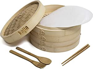 Kalia 10-inch 2 Tier Genuine Bamboo Steamer Basket ideal for cooking vegetables, Asian food, dim sum, bao buns, dumplings. Extras- bamboo fork and spoon, chopsticks, 10 liners. Chinese steamer.