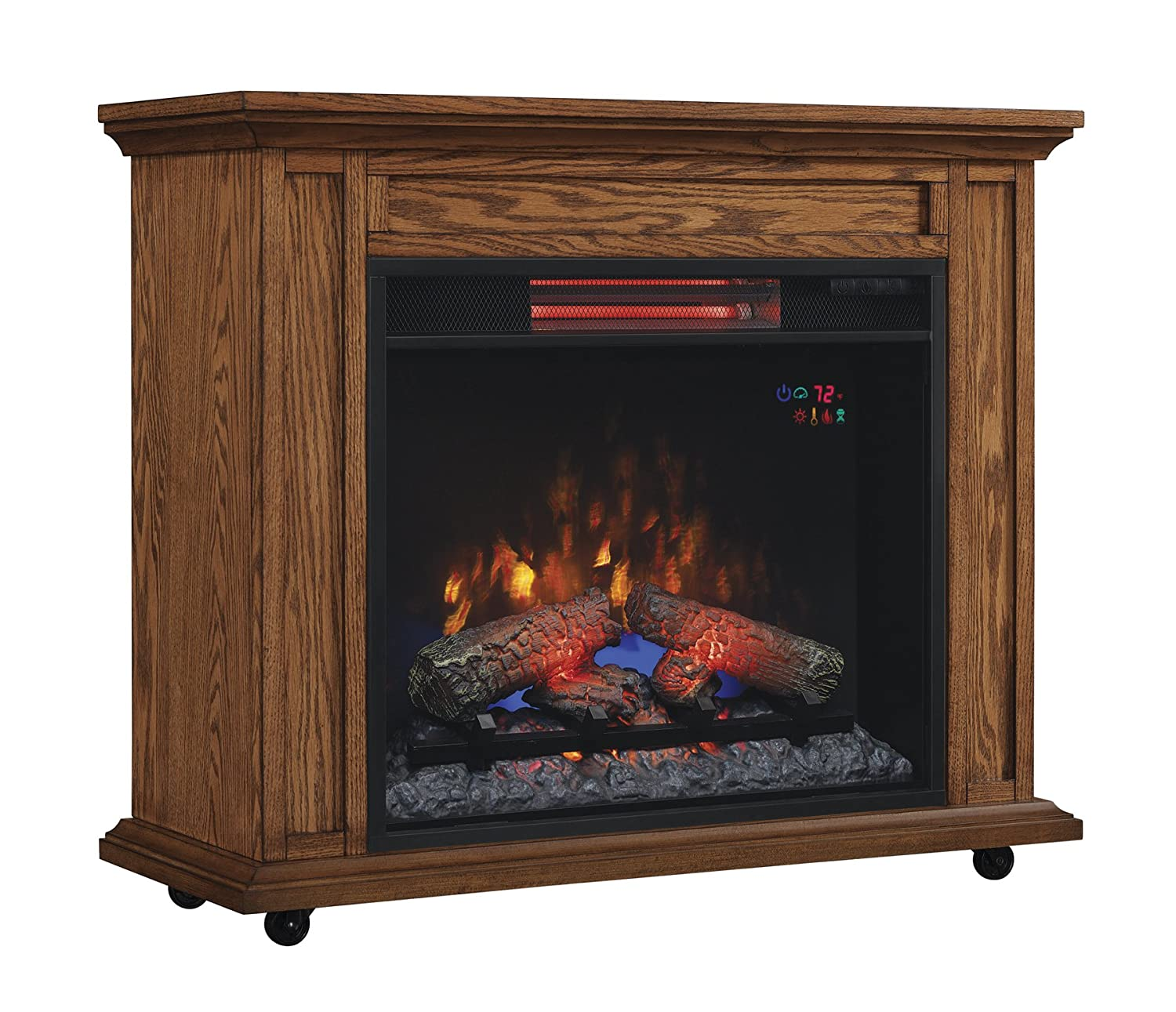ClassicFlame 23IRM1500-O107 Rolling Mantel with Infrared Quartz Fireplace, Oak