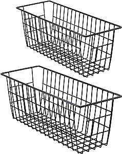 iPEGTOP Metal Wire Storage Organizer Bin Basket, 2 Pack Toilet Paper Holder Narrow Storage Organizer for Bathroom, Kitchen cabinets,Pantry, Laundry Room, Closets, Garage - Black