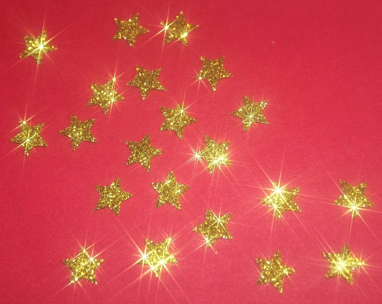 Stern-Form Patch zum Aufb/ügeln glitzernd 30 St/ück goldfarben 1 cm