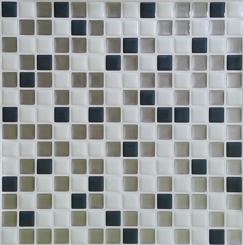 "Peel and Impress - Easy DIY Peel and Stick Adhesive Backsplash Tiles, 24018 White Steels 10""x 10"" (4 Tiles)"