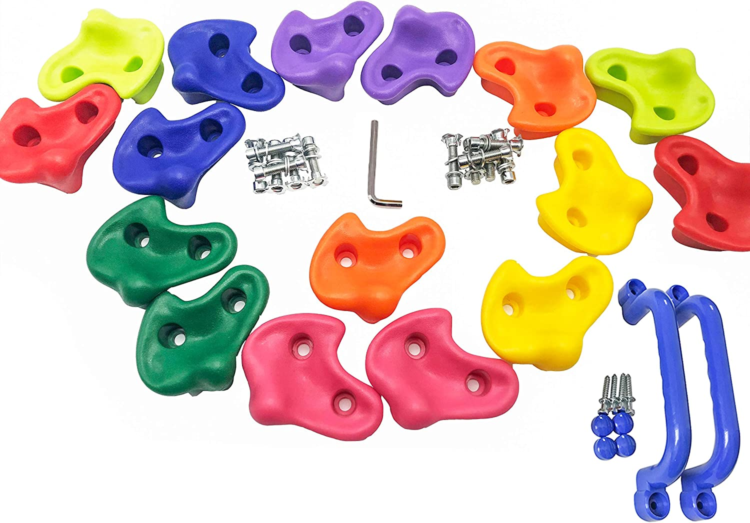 KINSPORY 16 Oversized Colourful Pig Nose Shape Children Rock Climbing Holds Indoor Outdoor Kids Playground Build with Two Blue Handles - Mounting Hardware Kit Included