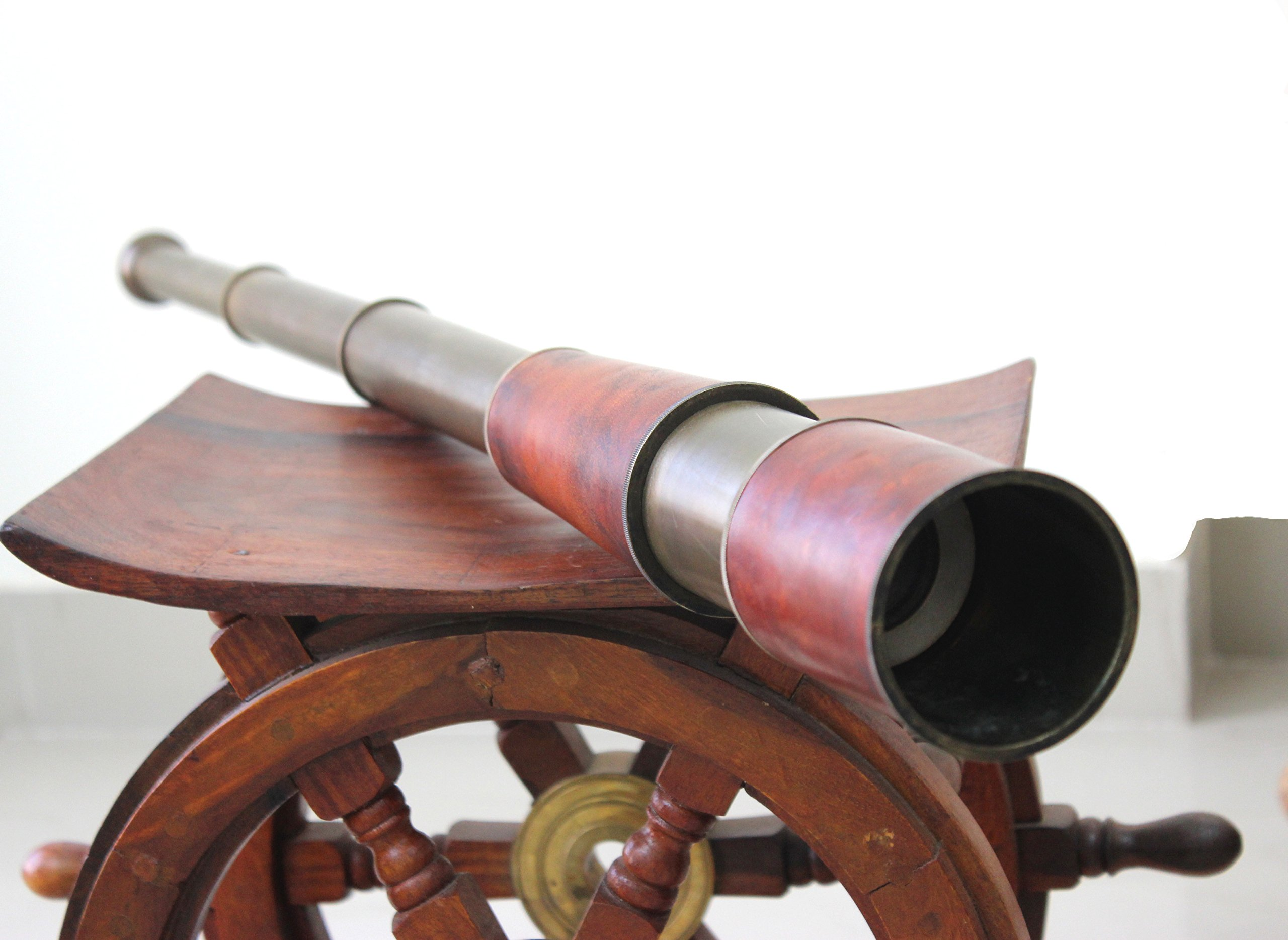 35'' Handheld Brass Telescope Leather Covered Nautical Collector - Unique Handmade Design by Indian Artisan by Collectibles Buy