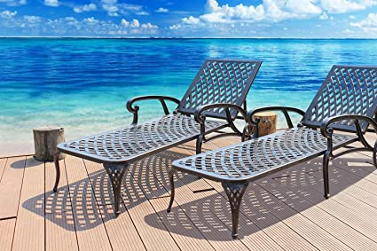 cast aluminum patio chairs. HOMEFUN Chaise Lounge Outdoor Cast Aluminum Patio Furniture Metal Adjustable Backyard Wheels Chair Set Of 2 Chairs